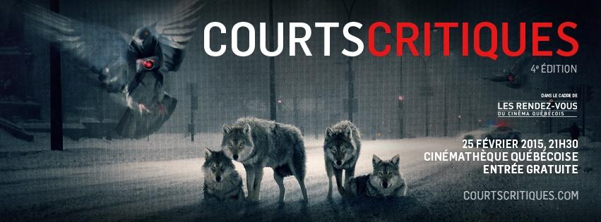 Bannière officielle de Courts Critiques 4 aux RVCQ - Graphisme Mario Jean / MADOC.